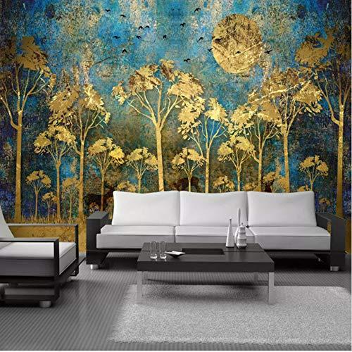 Pbbzl muurschildering op bestelling Chinese schilderij met gouden bos en hert, fotobehang, voor woonkamer, slaapkamer 200 x 140 cm