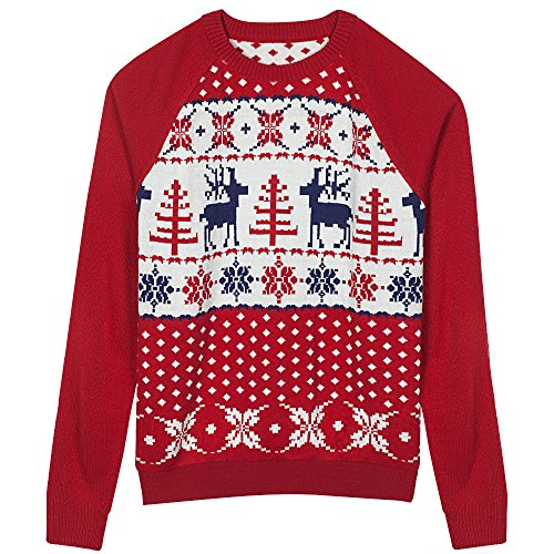 Blueberry Pet Unisex Ugly Christmas Reindeer Pullover Sweater in Tango Red & Navy Blue, Medium