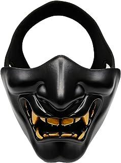 Outdoor Base Samurai Half Face Mask Oni Lower Face Masks Demon Kabuki Hannya Evil Protective Japanese Mask for Tactical Ai...