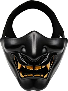 Aoutacc Airsoft Half Face Masks, Evil Demon Monster Kabuki Samurai Hannya Oni Half Face Protective Masks Masquerade Ball, Party, Halloween, Cs War Game