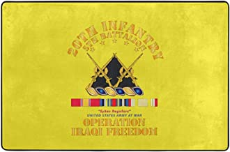 5th Bn 20th Infantry OIF W SVC Ribbons Home Doormat Indoor, Non Slip Absorbent Cozy Carpet 24x36 Inch