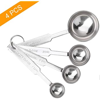 4Pcs Measuring Spoons Set, Premium Stainless Steel Metal Spoon Set, Tablespoon and Teaspoon, for Accurate Measure Liquid or Dry Ingredients, for Cooking Baking, Dishwasher Safety