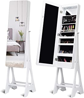 Giantex 15 LED Jewelry Armoire Cabinet with Full Length Mirror, Wooden Bedroom Bathroom Floor Mirror Stand, Jewelry Cabinet Storage with Inner Mirror, Ring Slots, Lipstick Holders (White)