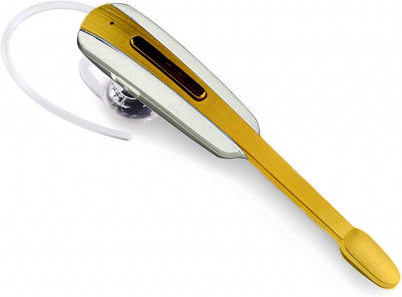 Tek Styz Headset Works for LG Optimus Fuel in Ear Wireless Bluetooth Noise Canceling Earpiece (White/Gold)