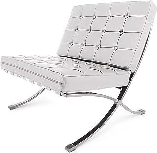 Ybzx - Juego de sillas y taburetes de Barcelona y otomano de piel sintética de mediados de siglo moderno clásico acolchado réplica de ocio sillón con reposapiés otomano (silla de salón blanca)
