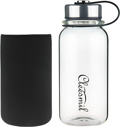 featured product Cleesmil Glass Water Bottle with Neoprene Sleeve, BPA Free, Leak Proof 20 oz or 32 oz