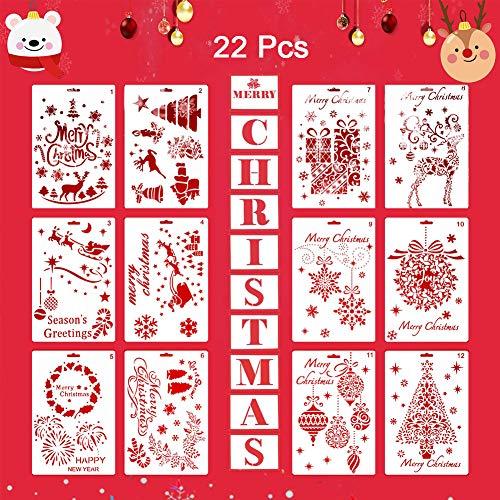 Schablonen Weihnachten - XXYL 22 Pack Wiederverwendbare Kunststoff Handwerk Malerei Vorlage Weihnachten Schablonen für Grußkarten, Alben, Sammelalbum, Notebook, Journal, Window, Xmas Decor