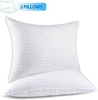 RENPHO Bed Pillows for Sleeping,Hotel Collection Plush Fiber Fill Pillow Down Alternative Pillow Mid Loft Stripe Cotton Pillow Cover 2 Pack, Standard Size