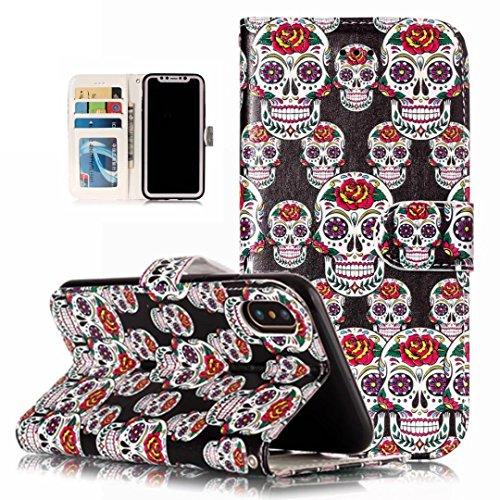 iPhone 5/5S/5SE hoesje PU Lederen Flip portemonnee case credit card slot functies magnetische off stent functie 3D patroon patroon ontwerp beschermende DECHYI case, FD17, iPhone X