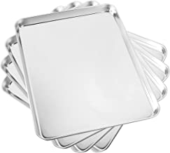 Baking Sheet Set of 4, Yododo Cookie Sheets Metal Stainless Steel Tray Baking Pans, Rectangle Size 16 x 12 x 1 inch, Mirro...