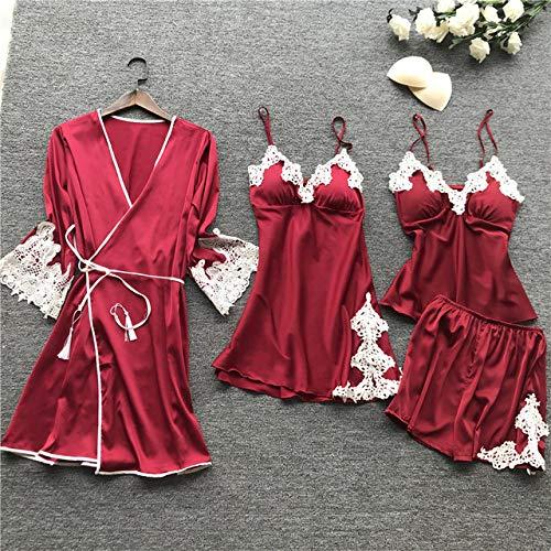 YPDM Badjas, zomer vrouwen pyjama's sets mouwloos 4 stuks satijnen nachtkleding zijdenachtkleding pyjama spaghettidrager pyjama met borstkussens