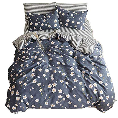 HIGHBUY Vintage Flower Printed Bedding Duvet Cover Set Queen Cotton Sateen Romantic Floral Duvet Cover with 2 Pillow Shams Reversible Striped Bedding Sets Full/Queen Size (Queen, Daisy)