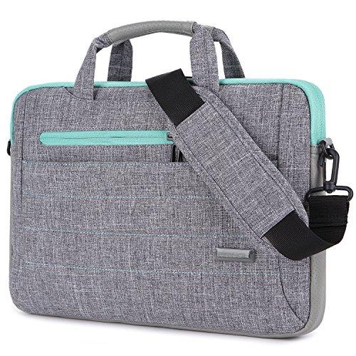 Brinch 15-15.6 Inch Multi-Functional Suit Fabric Portable Laptop Sleeve Case Shoulder Messenger Bag Briefcase for Laptop, Tablet, MacBook, Notebook - Grey-Green