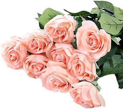 Amazon Com Vase Mch Simulation Rose Bouquet Fake Flower Living Room Bedroom Decoration Wedding Floral Decoration Color Style Four Home Kitchen