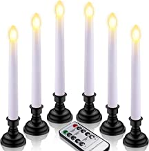 LED Taper Candles, Yme 6pcs Battery Window Candles with Remote Timer Flickering Flameless Candlesticks with Black Candle H...