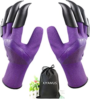Garden Genie Gloves, Waterproof Garden Gloves with Claw For Digging Planting, Best Gardening Gifts for Women and Men. (Purple)