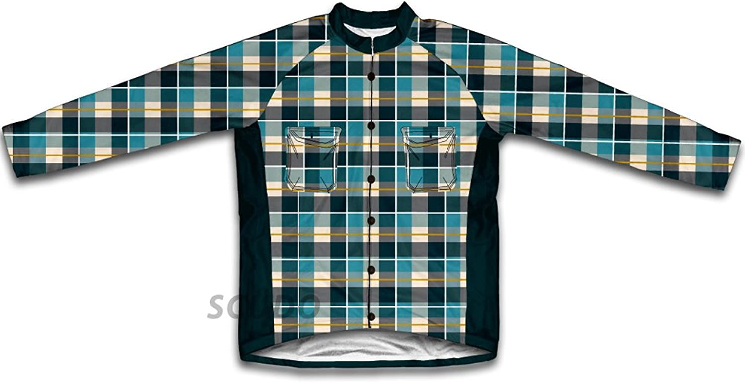 bluee Plaid Shirt Winter Thermal Cycling Jersey for Women