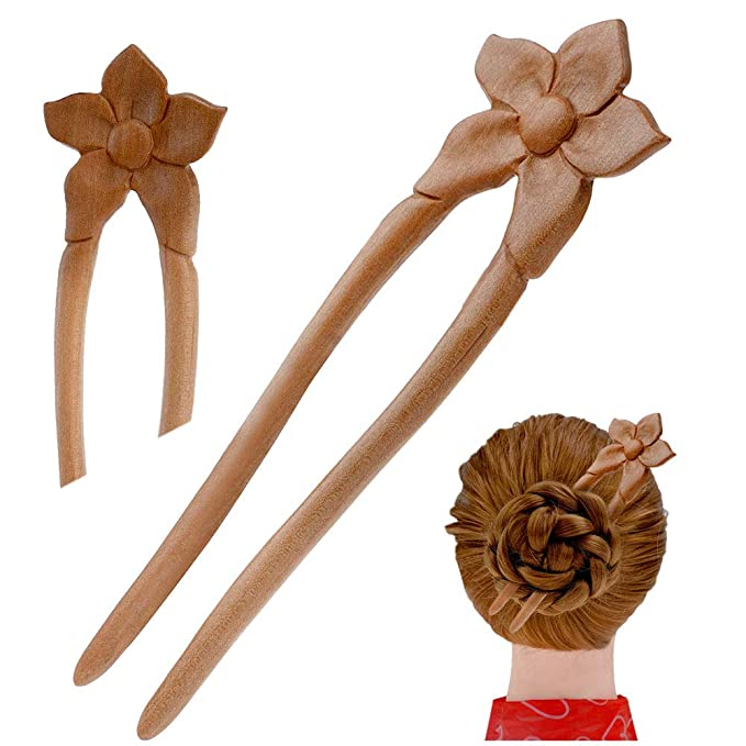 Details about  /2 Prongs Wooden Wood HAIR STICK FORK PIN PICK Wavy Grip Handmade Eco Friendly.