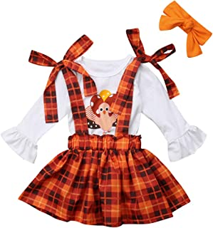 3PCS Toddler Baby Girls Thanksgiving Outfit Ruffle Sleeve Little Turkey Tops+Suspender Plaid Skirt Set
