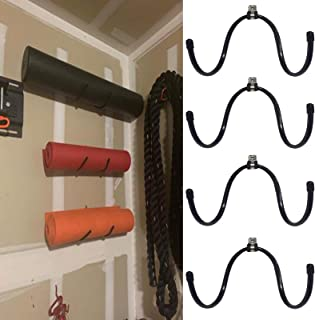 AUXPhome Wall-Mounted Yoga Mat Foam Roller and Towel Rack Holder- Yoga and Barre Mats Storage Rack Wall Holder Storage Shelf Exercise Mat Rack Hanging for Your Fitness Class or Home Gym, (4 Pack)