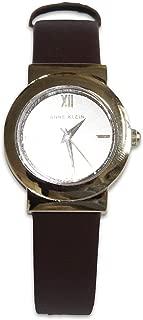 Anne Klein Women's Leather Strap Wrist Watch Gold Face - Dark Brown Band AK/3008CHBN