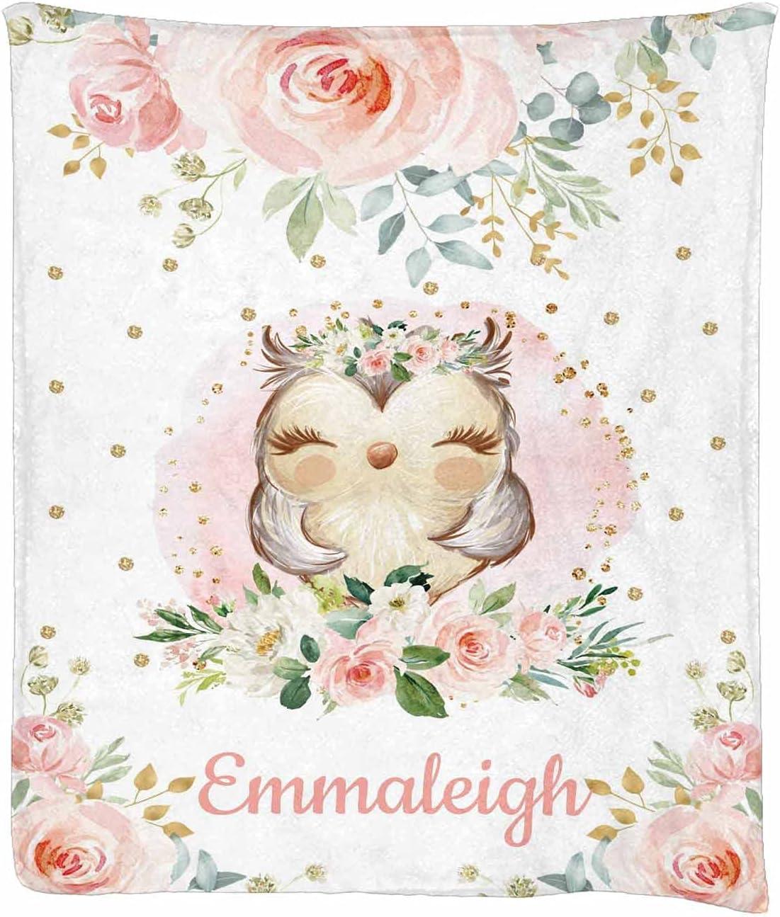 MyPupSocks Custom price Personalized Name Fleece Blanket Owl Chicago Mall Nursey Pl
