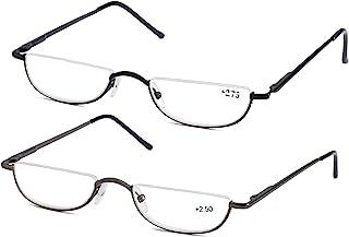 7e4e0146c55 SOOLALA Vintage Designer Alloy Flat Top Half Frame Stylish Slim Reading  Glasses