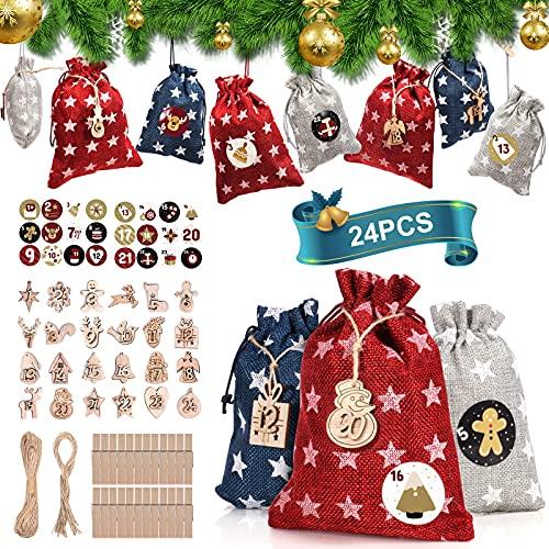 24 Calendario dell'Avvento, HORAY Calendario dell Avvento Natale da Riempire con 1-24 Etichette in Legno+Adesivi numerici+24 Clip e Corda Di Canapa, Sacchetti Juta Calendario Avvento Fai da Te
