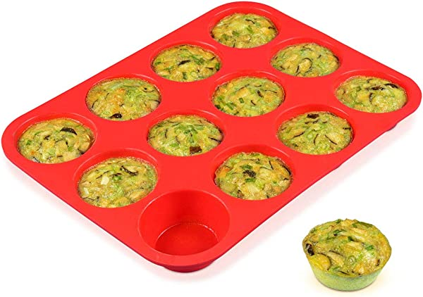 12 Cups Silicone Muffin Pan Nonstick BPA Free Cupcake Pan 1 Pack Regular Size Silicone Mold