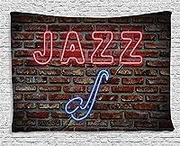 Jocar音楽のタペストリー、レンガの壁のプリントにサックス楽器と魅惑的なネオンオールジャズ記号のイメージ絶妙な創造的な家の装飾壁掛けタペストリー150x230cm