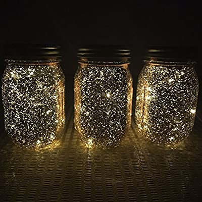 BEE 3-Pack Solar-powered Mason Jar Lights (Mason Jar & Handle Included) - Multi LED Colorful Fairy Lights - Patio Garden Porch Decor Solar Led Hanging Lantern Lights
