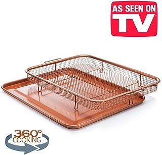 Bandeja de horno antiadherente con cesta de malla elevada, cobre, 2 piezas