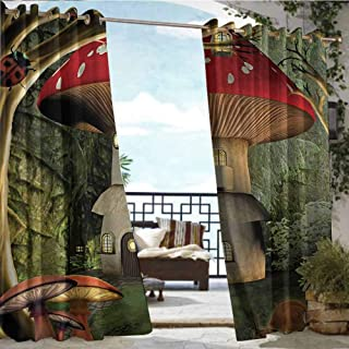 Outdoor Balcony Privacy Curtain Mushroom,Shroom House in Enchanted Forest wih Ladybug and Snail Whimsical Tree,Red Light Coffee Green,W108