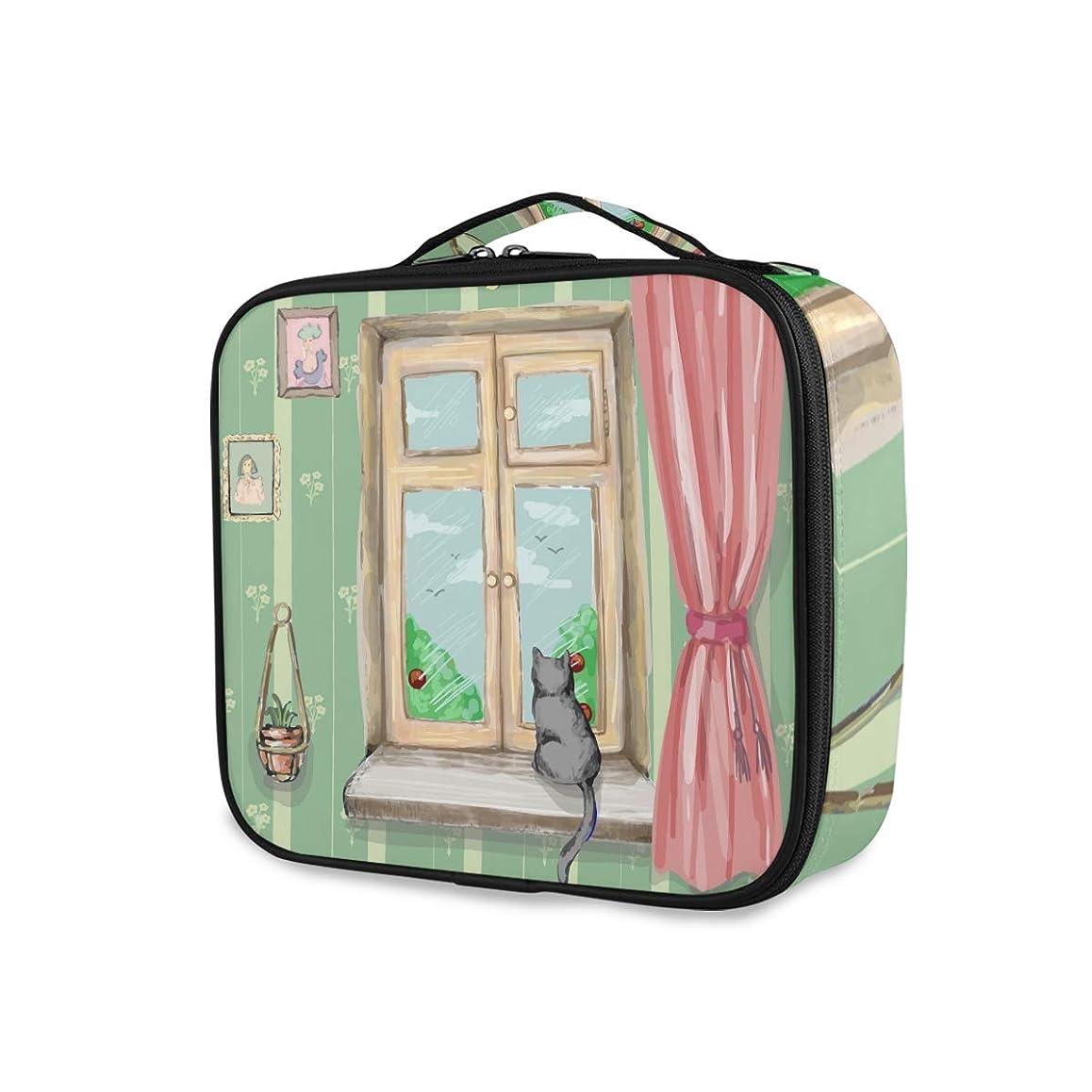 母音砂のインフレーションChovy メイクボックス 大容量 機能的 化粧ポーチ ネコ 猫 猫柄 おもしろ 抽象 绿 グリーン メイクケース 防水 コスメボックス メイクポーチ 仕切り 小物整理 ブラシ入れ付き プロ用 化粧品収納 バッグ 旅行