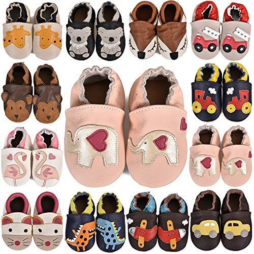 SUADEX Krabbelschuhe Leder Lauflernschuhe Jungen Mädchen Baby Weicher Babyschuhe 0-24 Monate Kleinkind Hausschuhe mit Wildledersohlen,A Pink Elefanten,12-18 Monate