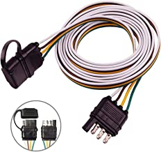 COROTC 4 Way Trailer Wire Extension, 4 Pin Flat Trailer Plug Adapter with Waterproof Cover, 60 inch Length Male & Female Connector