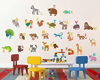 Paper Plane Design ABCD English Alphabets Animals Name Baby Wall Sticker Height 95Cm X Width 105Cm Pack Of 1