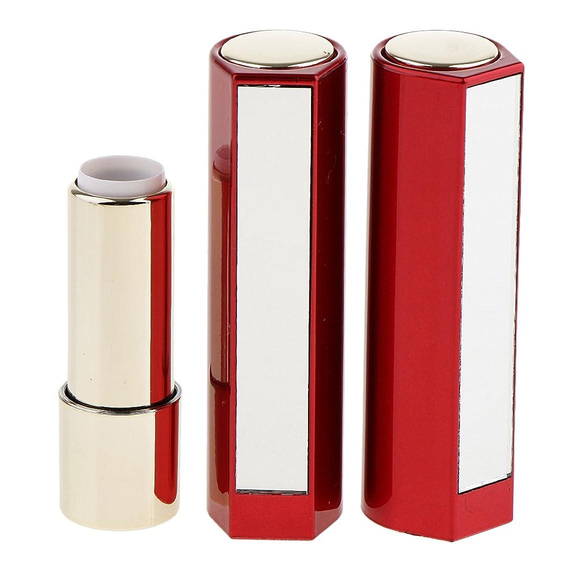 Fenteer 2本 空チューブ リップスティックチューブ 12.1MM口紅チューブ用 口紅チューブ リップクリーム DIY プラスチック製 2色選べる - 赤