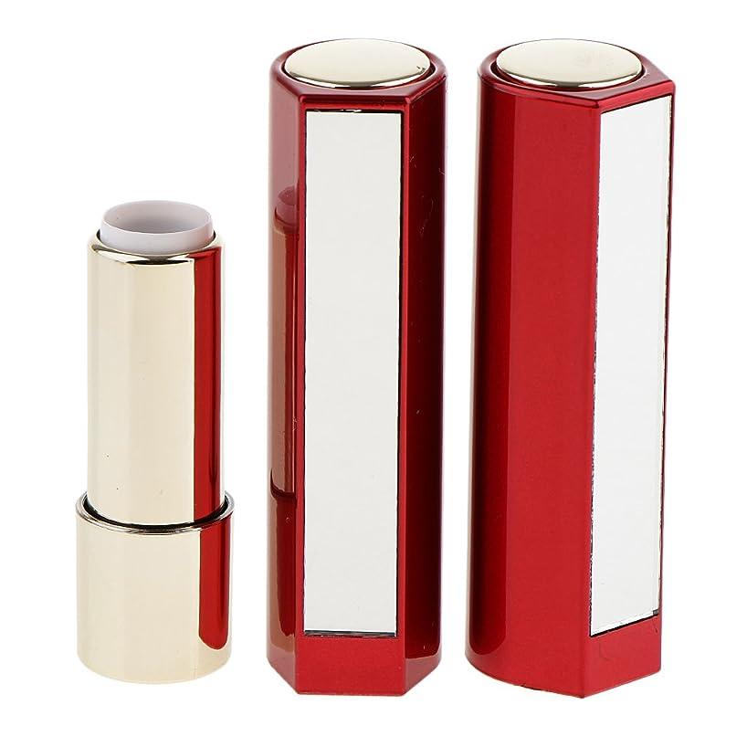 バングひどく幻想的Fenteer 2本 空チューブ リップスティックチューブ 12.1MM口紅チューブ用 口紅チューブ リップクリーム DIY プラスチック製 2色選べる - 赤