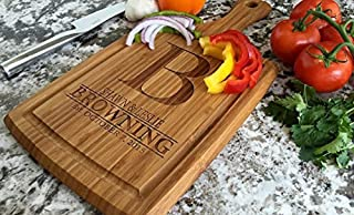 Personalized Wedding Gifts Cutting Board - Wood Cutting Boards, Also Bridal Shower and Housewarming Gifts (9 x 17 Bamboo Rectangular with Grooves, Browning Design)