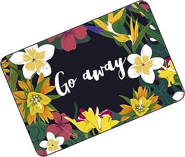 "FUNNY KIDS' HOME Funny Doormats Go Away Beautiful Floral Edge Mats 23.6""(L) x 15.7""(W)"