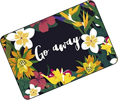 "FUNNY KIDS' HOME Funny Doormats Go Away Beautiful Floral Edge Mats 23.6""(L) x 15.7""(W)"