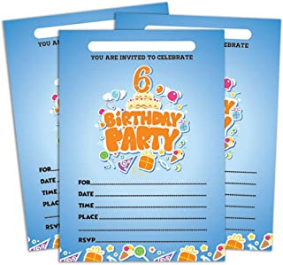 Darling Souvenir Blue Birthday Invitation Card 28 Pcs Fill or Write in Blank Invites Printable Party Supplies 5 x 7 Inches