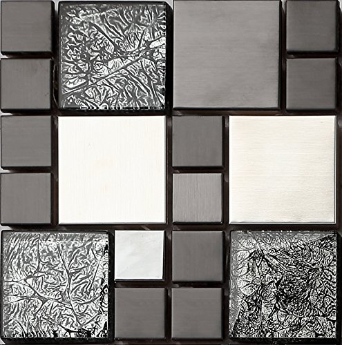 HT0002, mattonelle in acciaio inox e vetro, effetto mosaico, in nero e argento opaco, 15 cm x 15 cm x 8 mm
