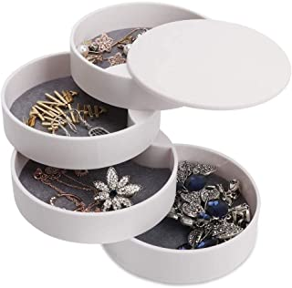 Shayee Jewelry Organizer Box 4 Layers Jewelry Accessory Storage Tray 360 Degree Rotating for Rings Earrings Necklace Brace...