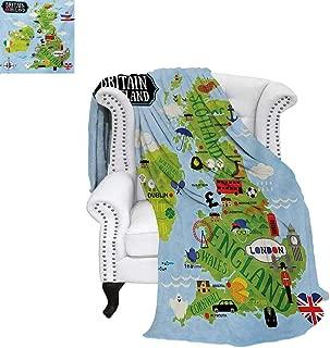 warmfamily Wanderlust Oversized Travel Throw Cover Blanket Cartoon Maps of Britain and Ireland Children Landmarks Illustration Super Soft Lightweight Blanket 60