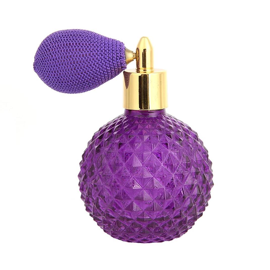勉強するモチーフ切り離すDabixx 女性ヴィンテージ香水瓶ショートスプレーアトマイザー詰め替え空のグラス100ミリリットル - 紫の