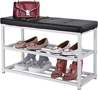 D-XinXin Shoe Rack Bench,3-Tier Shoe Rack for Entryway, Storage Organizer with Seat for Entryway, Living Room, Hallway,27.6 x 11.8 x 17.7 Inches,White