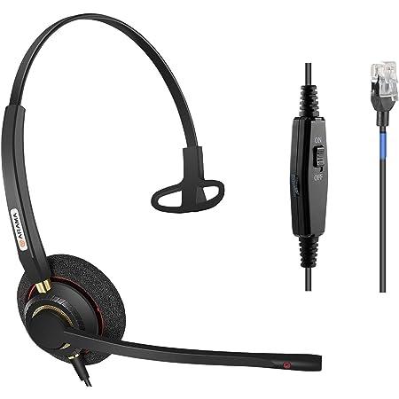 Arama Phone Headset RJ9 with Noise Cancelling Mic Compatible with Polycom VVX311 VVX410 VVX411 VVX500 Mitel 5320e Avaya 1408 1416 5410 ShoreTel 230 420 480 NEC Landline Phones (A800S)