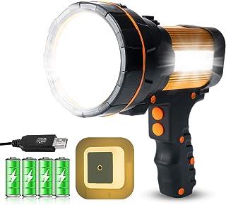 GEPROSMA Super Bright Rechargeable Spotlight, Spot lights hand held flashlight High 6000 lumens Large Battery 10000Mah Hig...